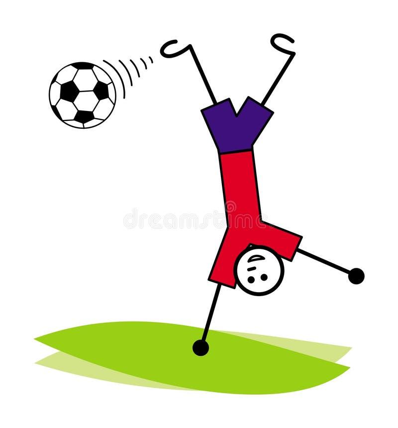 Kreskówka mały mężczyzna, gracz futbolu uderza balową do góry nogami pozycję na jeden ręce wektor royalty ilustracja