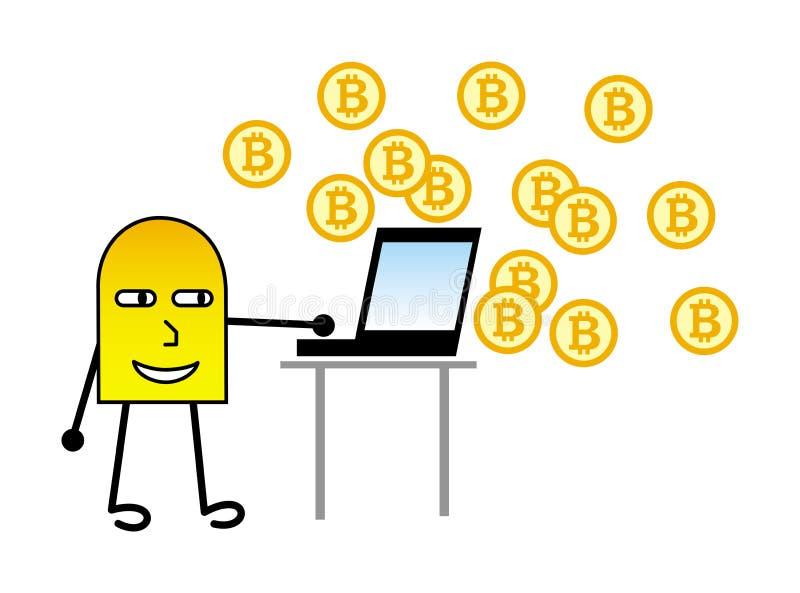 Kreskówka mały mężczyzna tworzy na komputerowych bitcoins kolonel jest może projektant wektor evgeniy grafika niezależny kotelevs ilustracja wektor