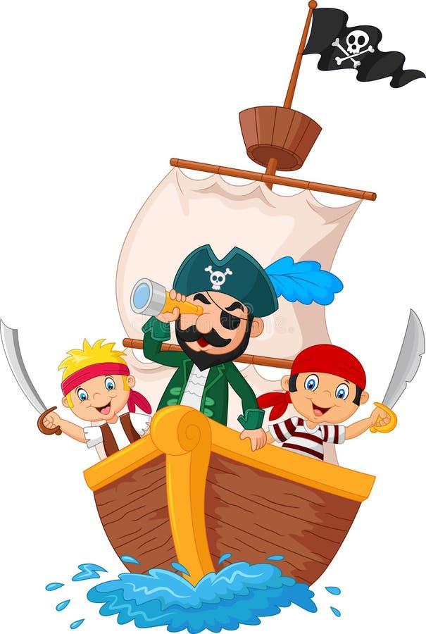 Kreskówka mały pirat surfował ocean ilustracji