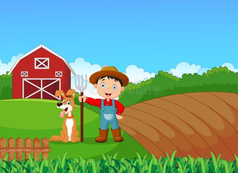 Kreskówka mały rolnik i jego pies z rolnym tłem ilustracji