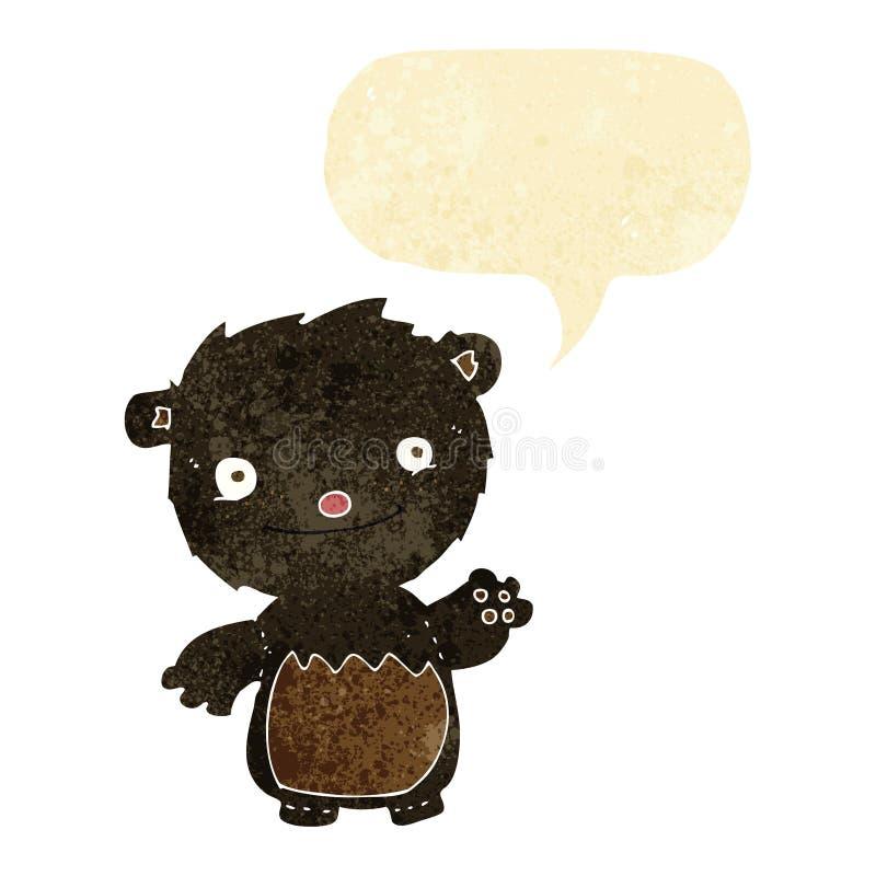 kreskówka macha czarnego niedźwiadkowego lisiątka z mowa bąblem royalty ilustracja