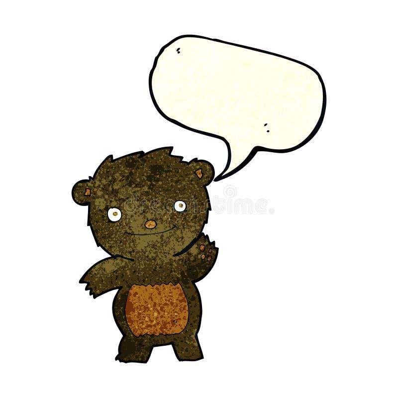 kreskówka macha czarnego niedźwiadkowego lisiątka z mowa bąblem ilustracja wektor