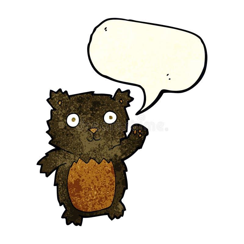 kreskówka macha czarnego niedźwiadkowego lisiątka z mowa bąblem ilustracji