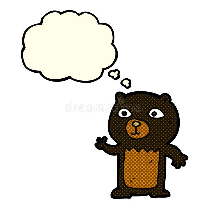 kreskówka macha czarnego niedźwiadkowego lisiątka z myśl bąblem ilustracja wektor