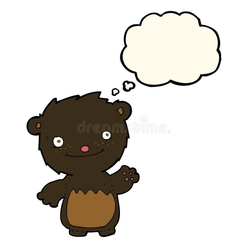 kreskówka macha czarnego niedźwiadkowego lisiątka z myśl bąblem ilustracji