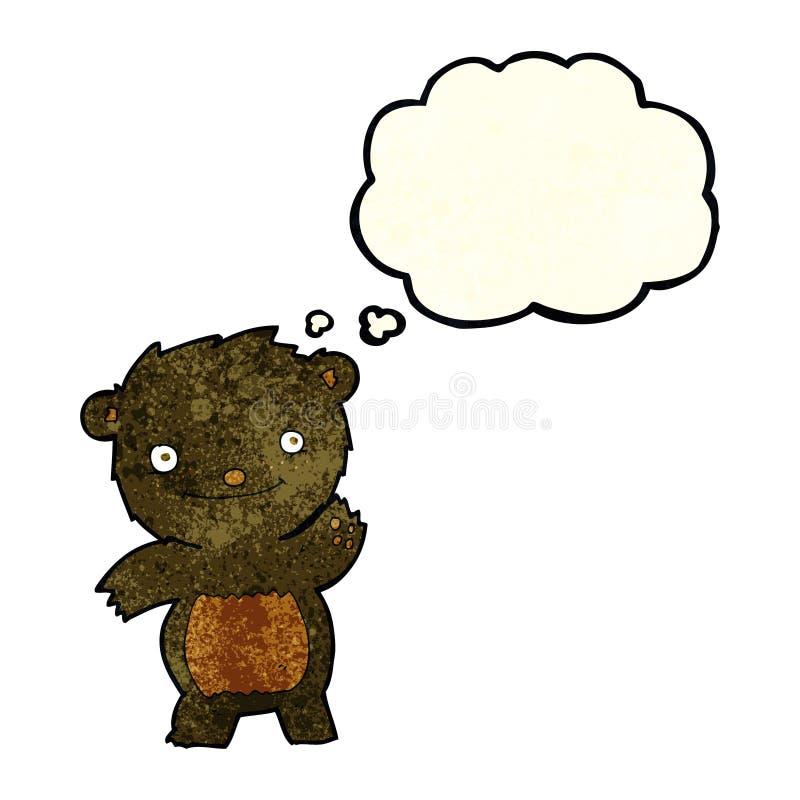 kreskówka macha czarnego niedźwiadkowego lisiątka z myśl bąblem royalty ilustracja