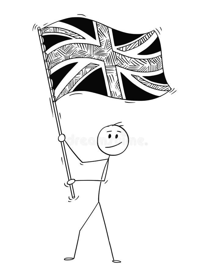 Kreskówka Macha flaga Zjednoczone Królestwo Brytania mężczyzna ilustracja wektor