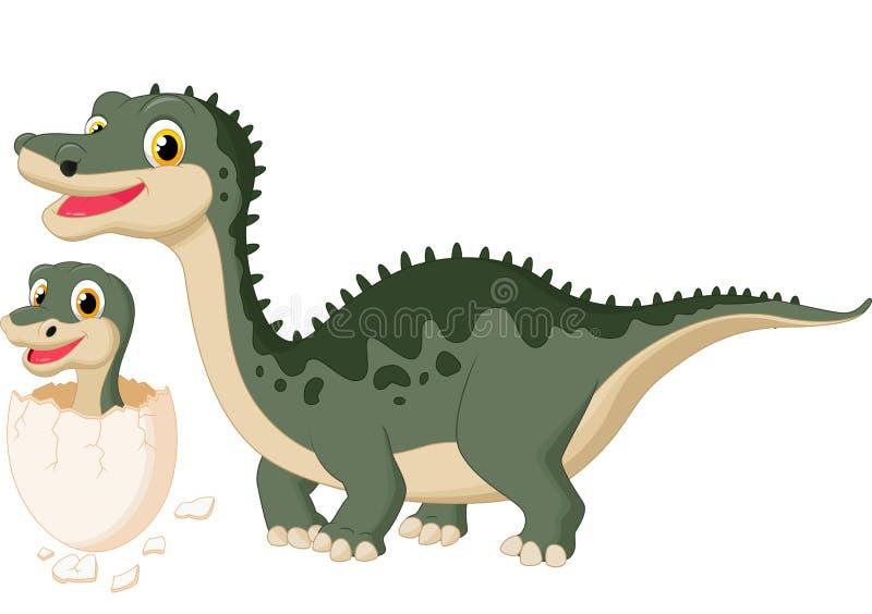 Kreskówka Macierzysty dinosaur z dziecka kluć się royalty ilustracja