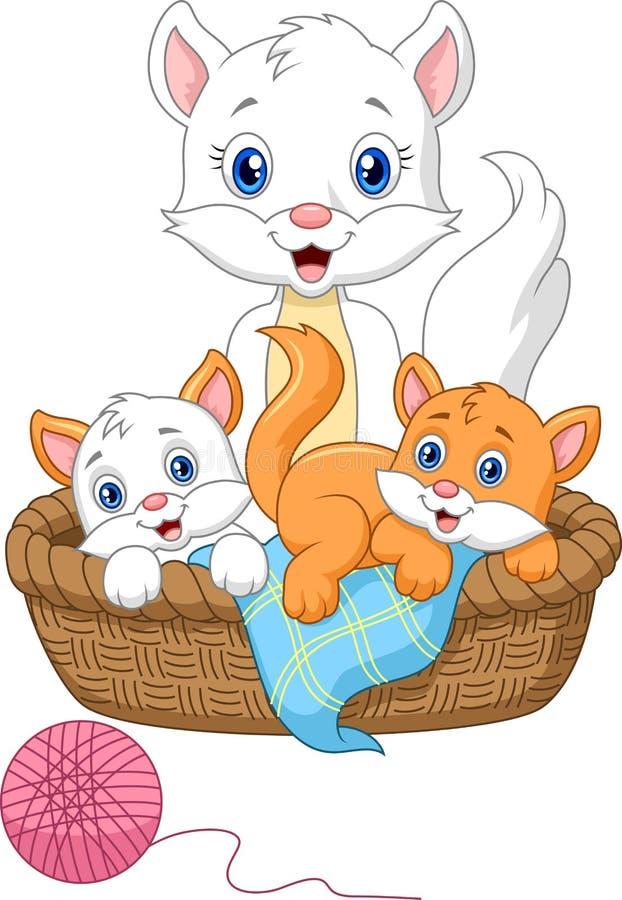 Kreskówka macierzysty kot bawić się z dziecko kotem ilustracja wektor