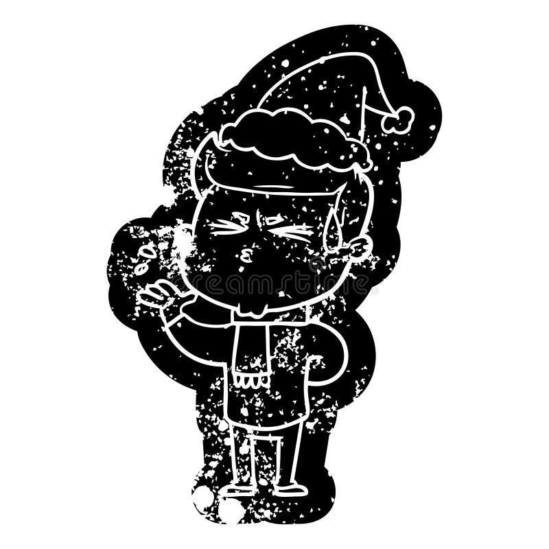 kresk?wka martwi? ikon? m??czyzny pocenie jest ubranym Santa kapelusz royalty ilustracja