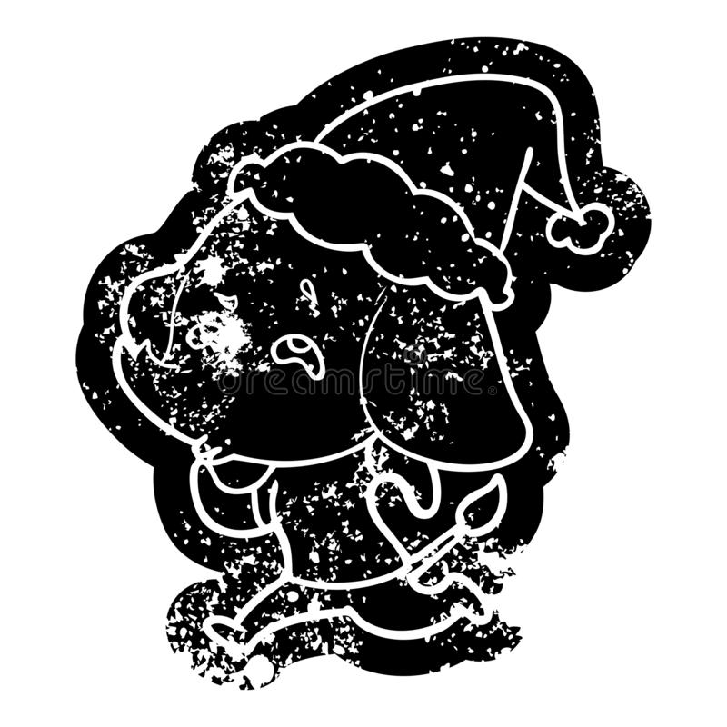 kresk?wka martwi? ikon? s?o? pami?ta b?d?cy ubranym Santa kapelusz ilustracji
