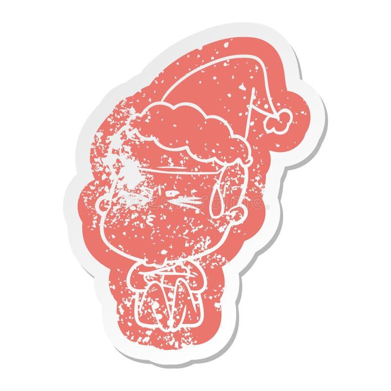 kresk?wka martwi? majcheru jest ubranym Santa kapelusz m??czyzny pocenie ilustracja wektor