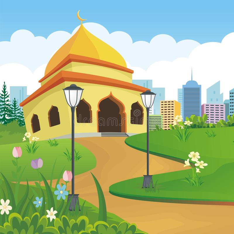 Kreskówka meczet z naturą i miasto krajobrazem royalty ilustracja