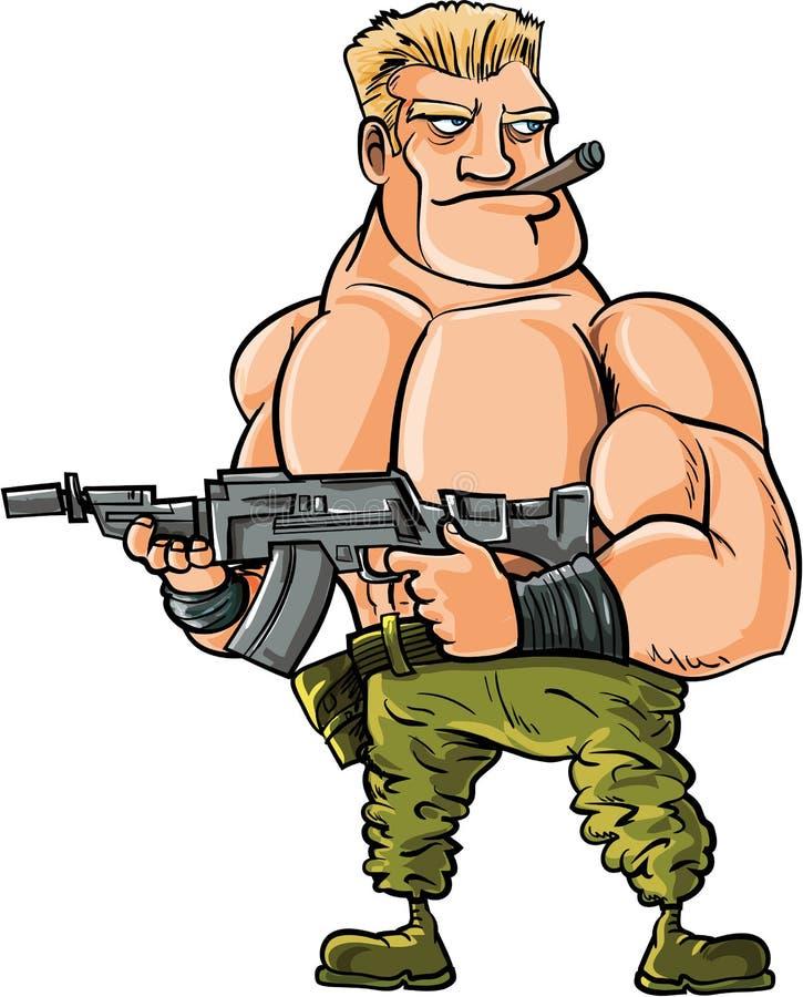 Kreskówka mięśnia żołnierz z dużym maszynowym pistoletem ilustracji