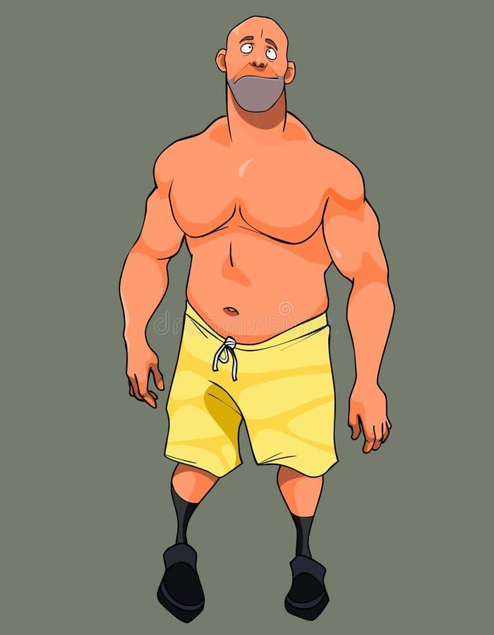 Kreskówka mięśniowy mężczyzna w skrótach z nagą półpostacią i ilustracji