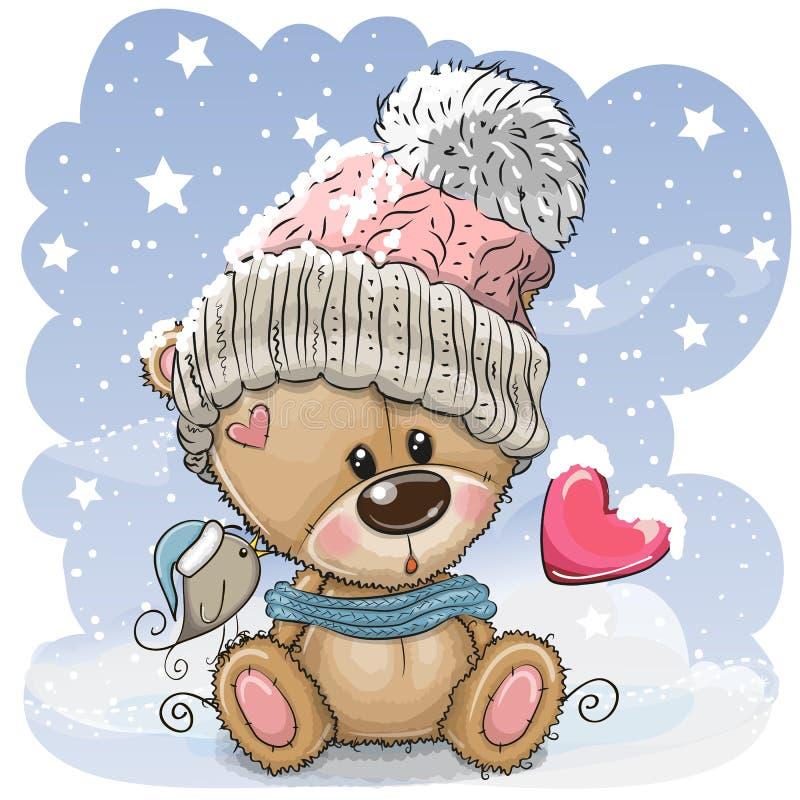 Kreskówka miś w trykotowej nakrętce siedzi na śniegu royalty ilustracja