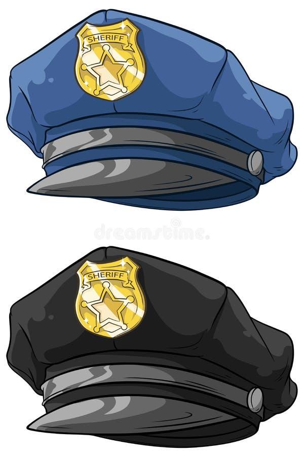 Kreskówka milicyjny kapelusz z złotym odznaka setem royalty ilustracja