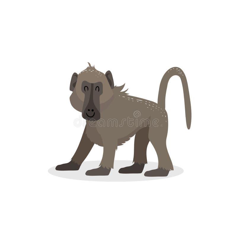 Kreskówka modnego projekta pawianu chodząca małpa Afrykański przyrody zwierzę odizolowywający na białym tle royalty ilustracja