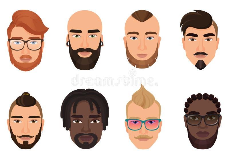 Kreskówka modnisiów mężczyzna facetów brodaci avatars z nowożytnymi fryzurami, wąsami i brodami odizolowywającymi, royalty ilustracja