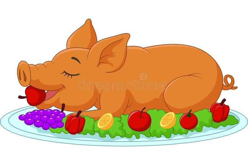 Kreskówka musztrująca osesek świnia na talerzu royalty ilustracja