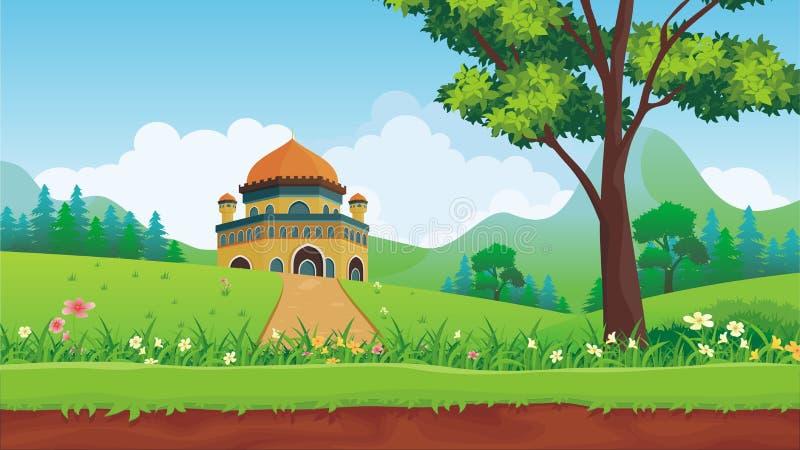 Kreskówka muzułmanin - meczet z uroczym krajobrazem royalty ilustracja