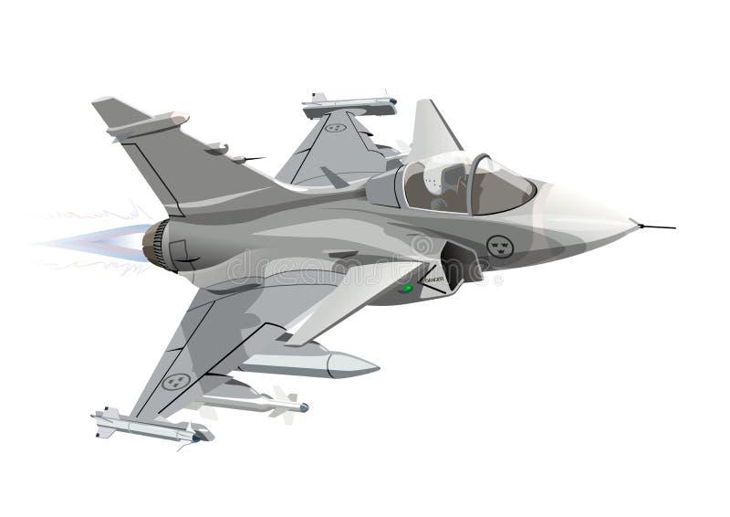 Kreskówka myśliwa odrzutowego Militarny samolot Odizolowywający royalty ilustracja
