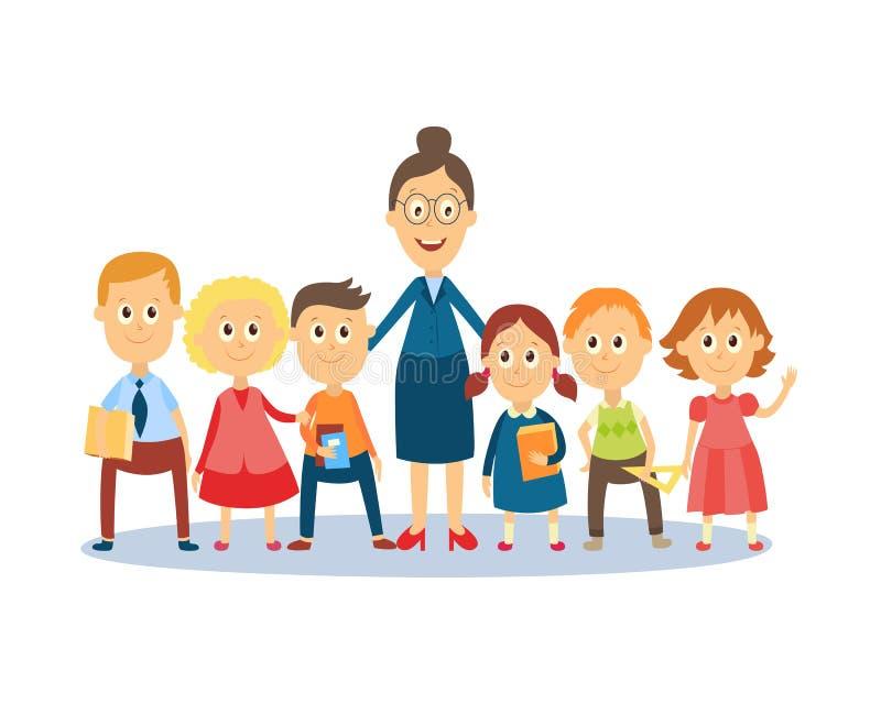 Kreskówka Nauczyciela Pozycja Z Uczniami, Ucznie Ilustracja Wektor -  Ilustracja złożonej z nauczyciela, uczniami: 101285009