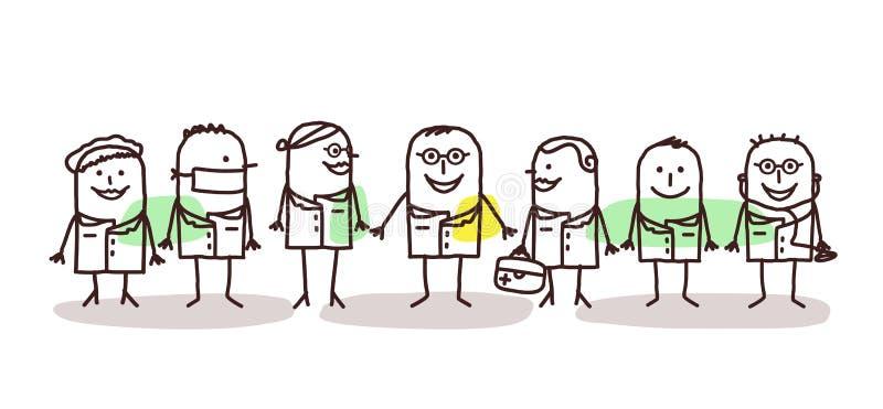Kreskówka naukowów i lekarek drużyna ilustracja wektor