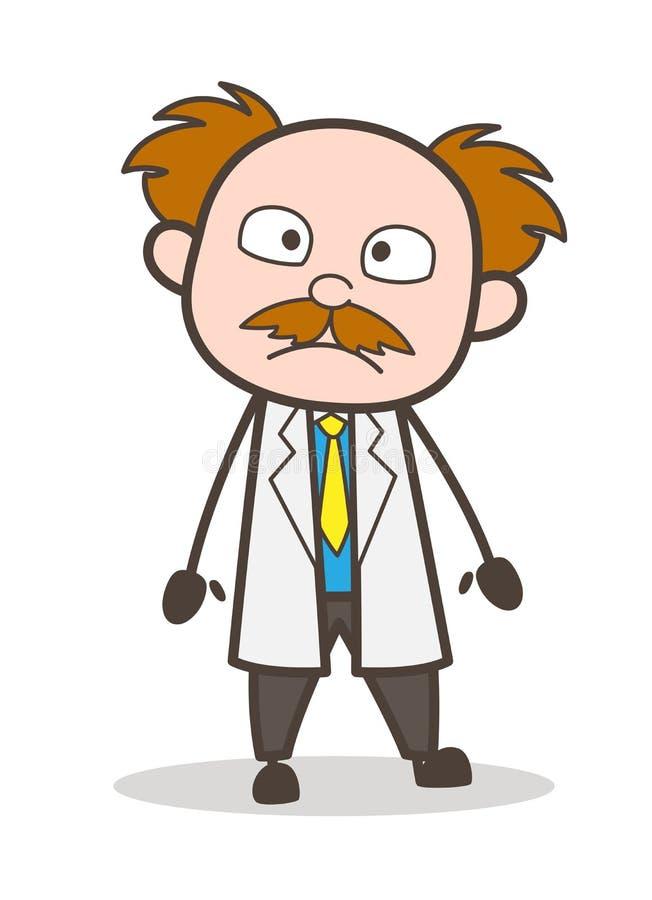 Kreskówka naukowa wyrazu twarzy wektoru Szokująca ilustracja ilustracja wektor
