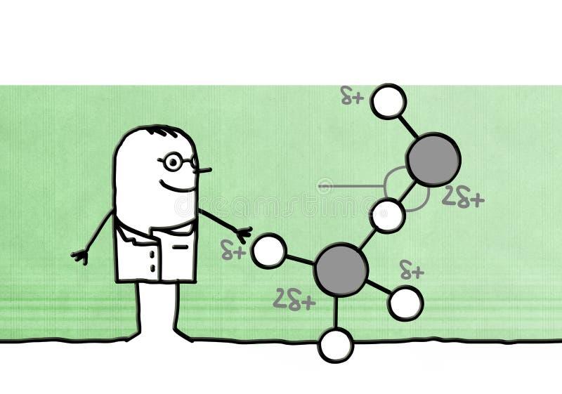 Kreskówka naukowiec z molekułą royalty ilustracja