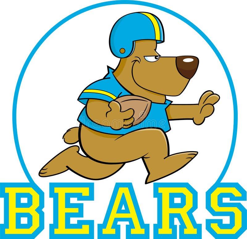 Kreskówka niedźwiadkowy bawić się futbol wśrodku okręgu z niedźwiedzia tekstem royalty ilustracja