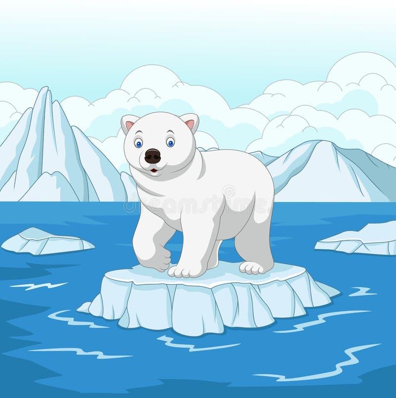 Kreskówka niedźwiedź polarny odizolowywający na lodowym floe royalty ilustracja