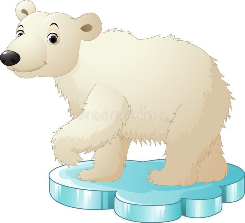 Kreskówka niedźwiedź polarny siedzi na floe ilustracji