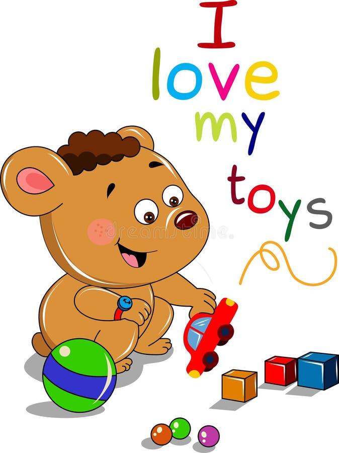 Kreskówka niedźwiedź z zabawkami royalty ilustracja