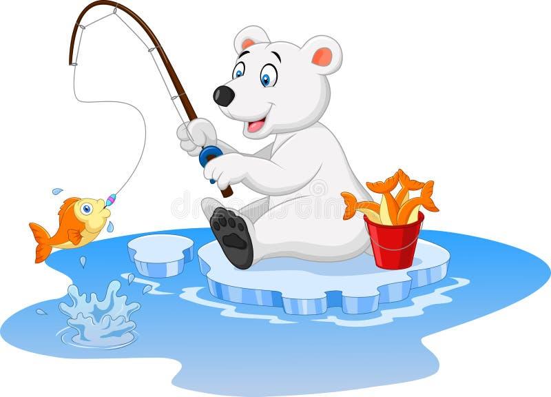 Kreskówka niedźwiedzia polarnego łowić ilustracja wektor