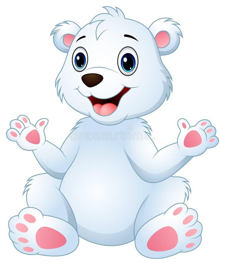 Kreskówka niedźwiedzia polarnego śmieszny siedzieć royalty ilustracja