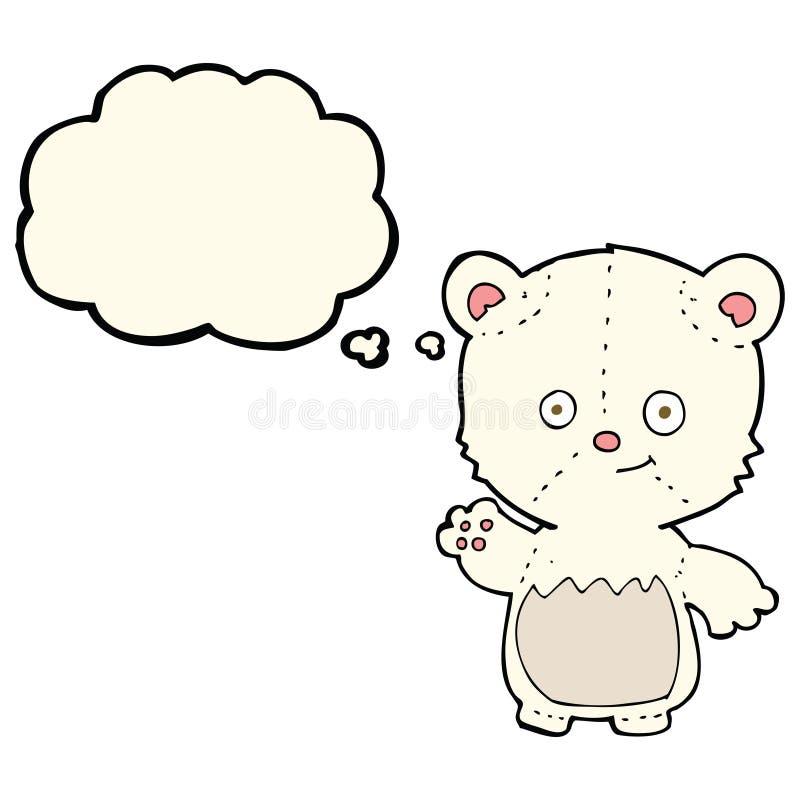 kreskówka niedźwiedzia polarnego lisiątka falowanie z myśl bąblem ilustracja wektor