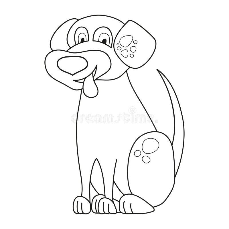 Kreskówka nierówny szczeniak, śliczny śmieszny psi stawiający out jęzor, kolorystyki książka ilustracja wektor
