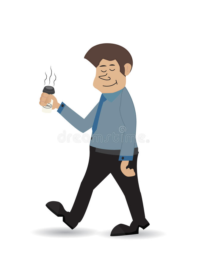 Kreskówka niesie kawę 2 ilustracja wektor