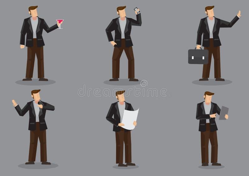 Kreskówka Nowożytny mężczyzna w Czarnej kurtki Wektorowym charakterze - set ilustracja wektor