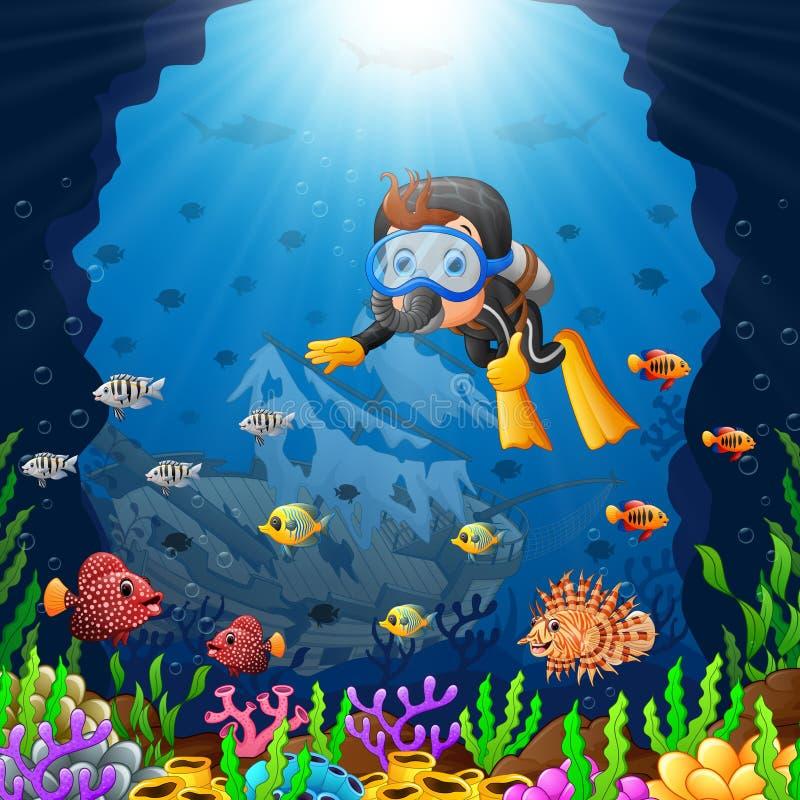 Kreskówka nurek pod morzem ilustracja wektor