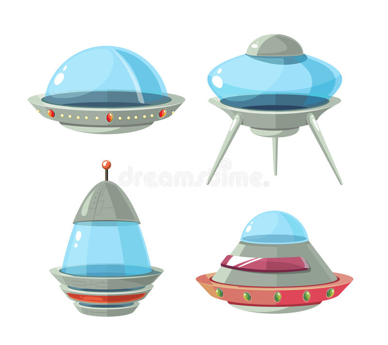 Kreskówka obcy statek kosmiczny, statki kosmiczni i ufo wektoru set, ilustracji