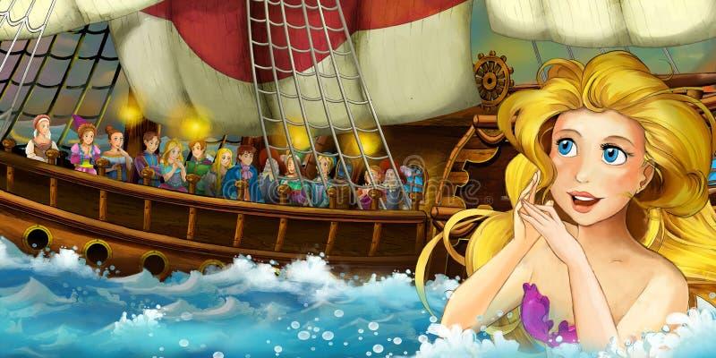 Kreskówka ocean i syrenka royalty ilustracja