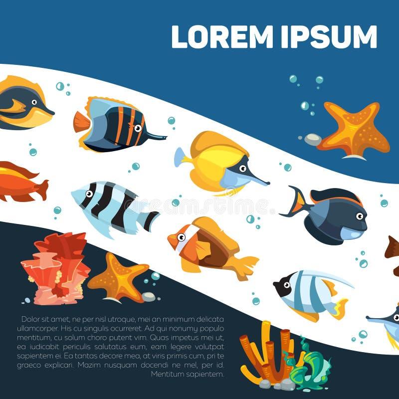 Kreskówka ocean z, sealife lub royalty ilustracja