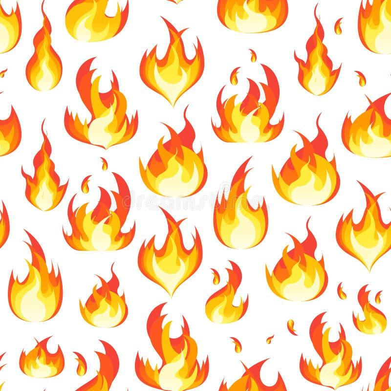 Kreskówka ogień Płonie tło wzór na bielu wektor ilustracja wektor
