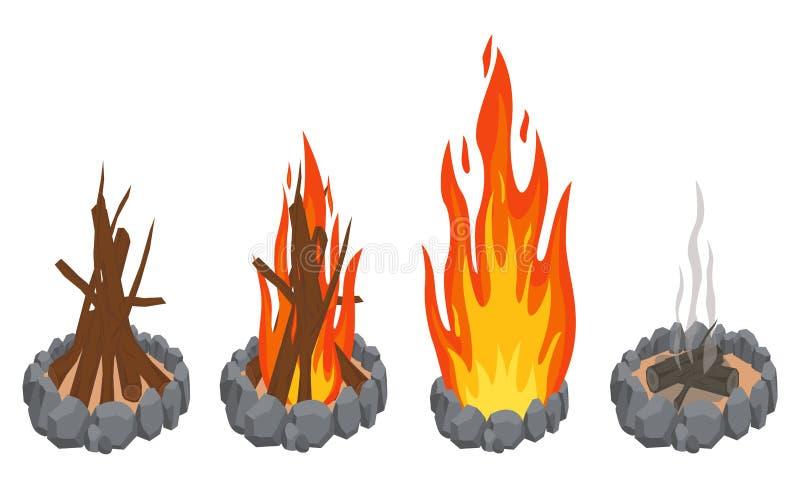 Kreskówka ogienia płomienie ilustracja wektor