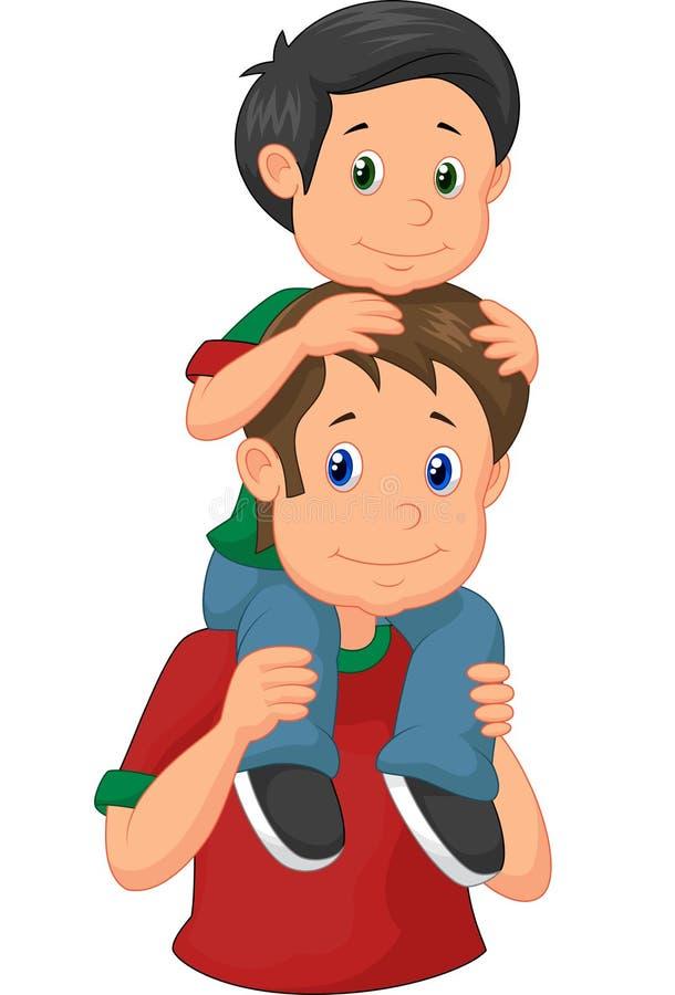 Kreskówka ojciec daje jego syna piggyback przejażdżce ilustracja wektor
