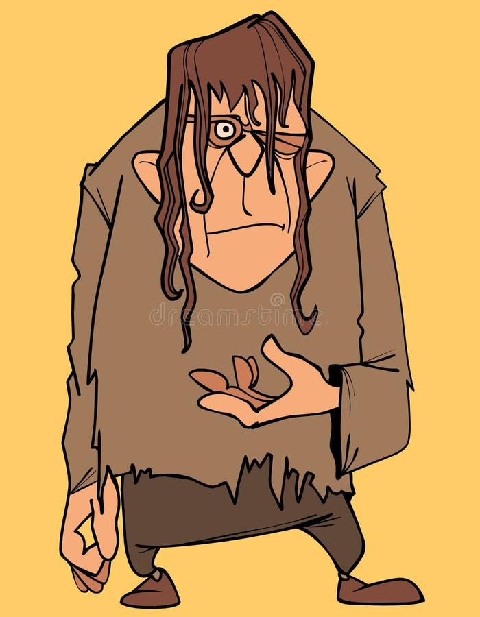 Kreskówka okropny mężczyzna w obdartym odziewa mrugnięcia ilustracja wektor