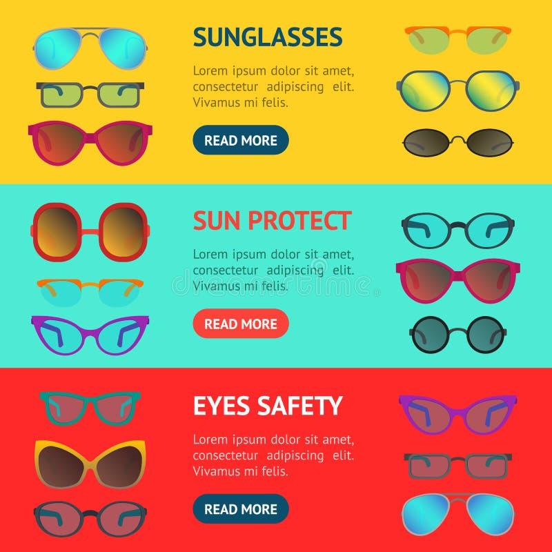 Kreskówka okularów przeciwsłonecznych i szkieł sztandaru Horyzontalny set wektor ilustracji