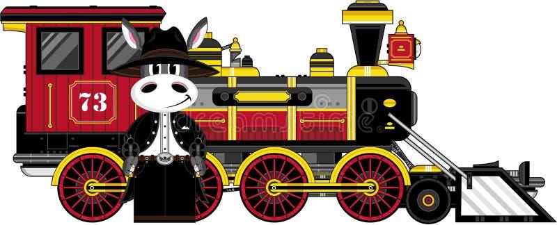 Kreskówka osła pociąg i kowboj ilustracja wektor